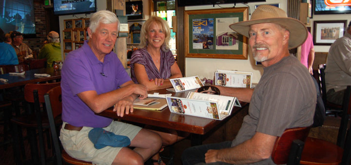 Pagosa housing workgroup volunteers Peter Adams (left) and Jack Searle (right) enjoy a Breckenridge lunch with Summit Combined Housing Authority Executive Director Jennifer Kermode, June 2016.